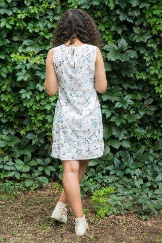 Rochie alba scurta Sandra din bumbac cu imprimeu floral