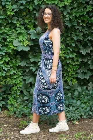 Rochie midi Antali cu imprimeu bleumarin-mov