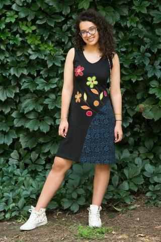 Rochie neagra Maya cu aplicatii si imprimeu floral
