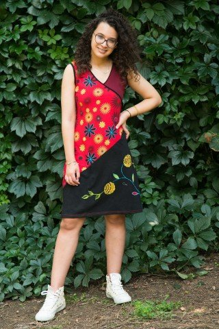 Rochie rosie Maya cu imprimeu floral