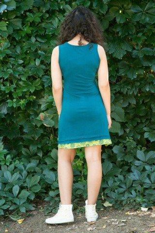 Rochie turcoaz scurta tip maiou Maya cu imprimeu verde