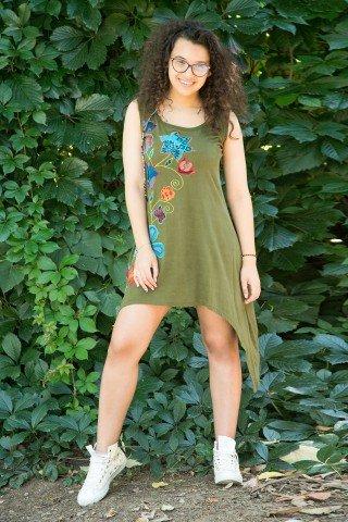 Rochie kaki asimetrica Maya cu aplicatie florala