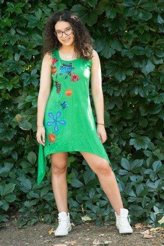 Rochie verde asimetrica Maya cu aplicatie florala