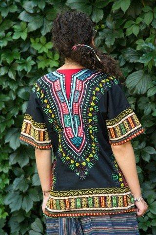 Camasa neagra cu buzunare si motive africane