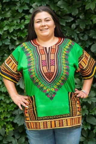 Camasa verde cu buzunare si motiv africane
