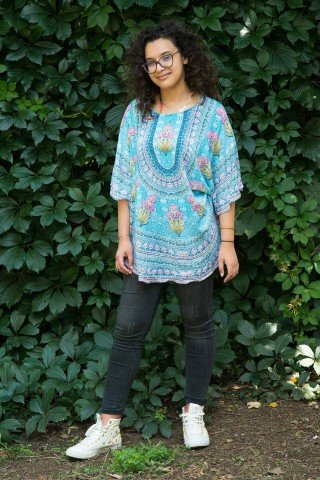 Bluza matasoasa multicolora stil poncho