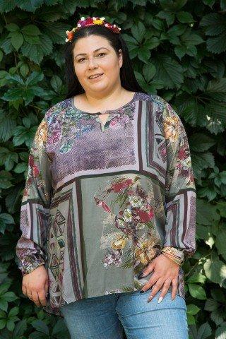 Bluza multicolora imprimeu floral si geometric