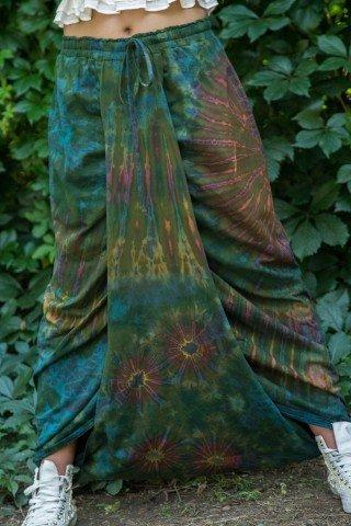Salvari fusta din bumbac verde tie dye