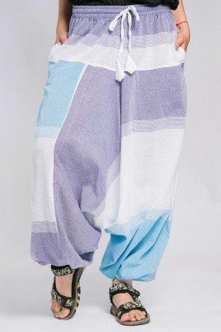 Salvari unisex mov alb-albastru