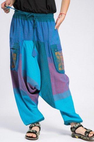 Salvari unisex albastri cu mandala si buzunare ample