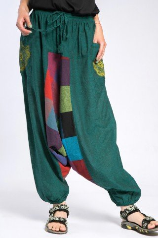 Salvari unisex verzi cu patratele si mandala