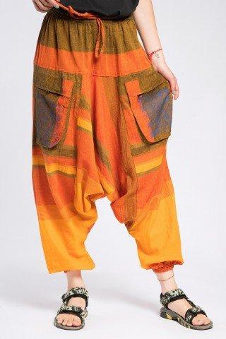 Salvari unisex portocalii cu mandala si buzunare ample
