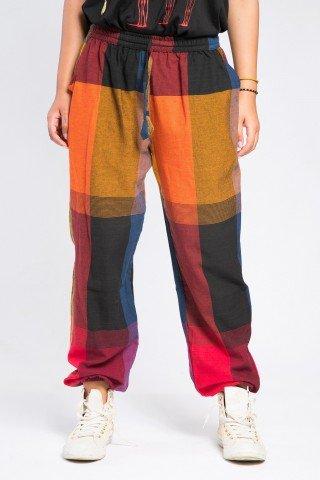 Pantaloni unisex portocaliu-grena  in carouri