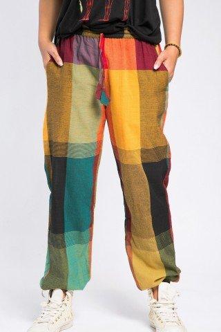 Pantaloni unisex portocaliu-turcoaz in carouri