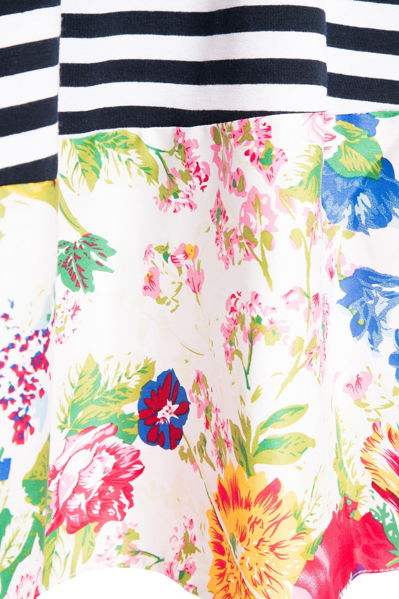 Rochie  Sara din tricout bleumarin sau dungi cu poplin  si imprimeu floral