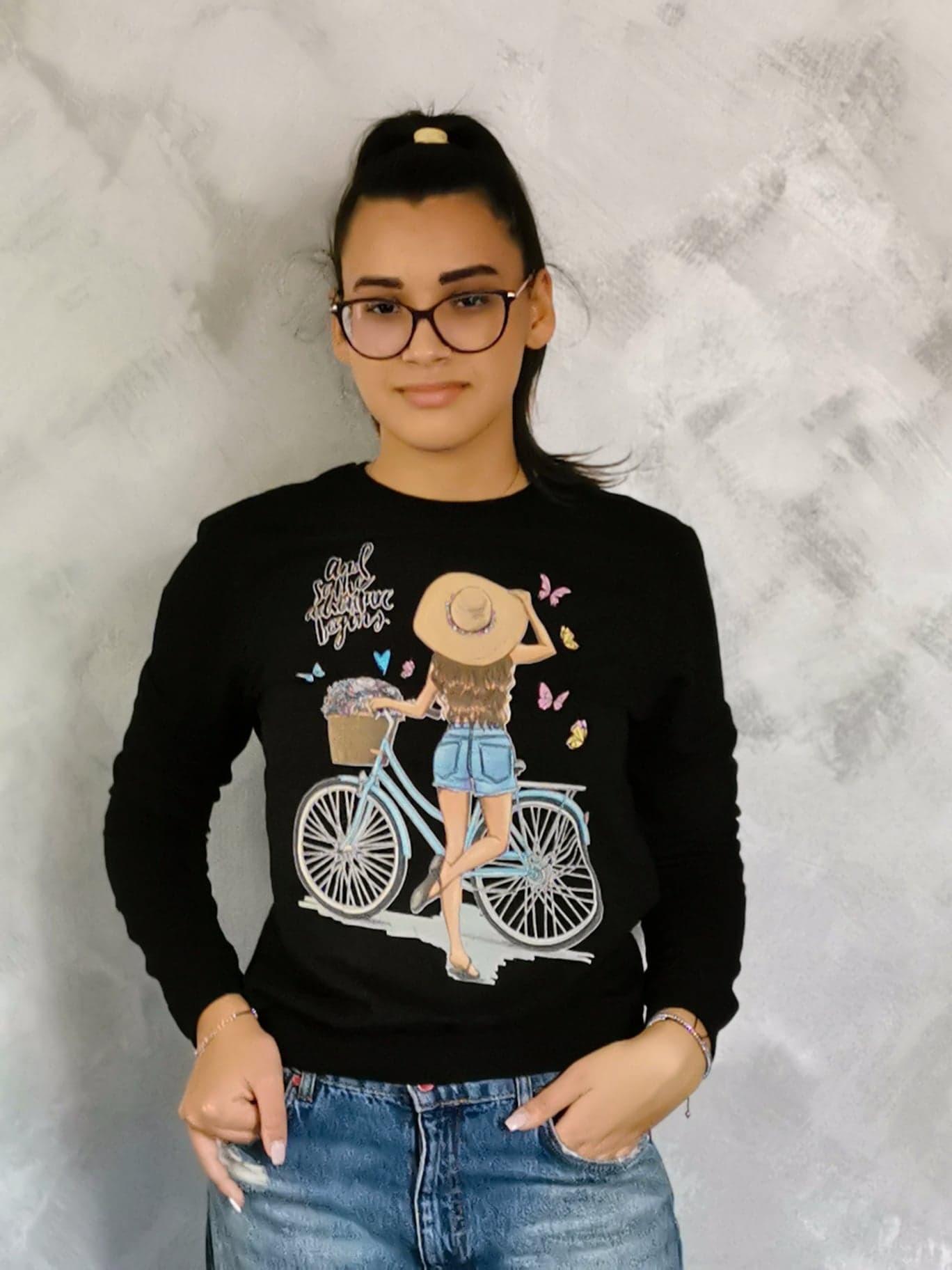 Hanorac imprimat Fata cu bicicleta