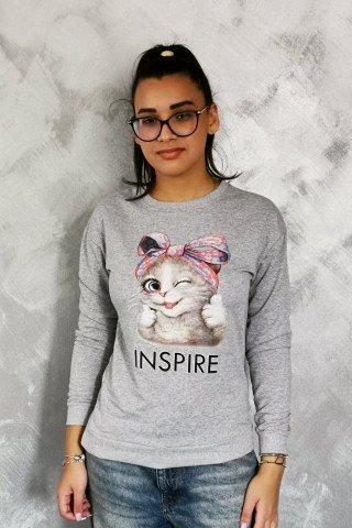 Hanorac imprimat cu pisica Inspire