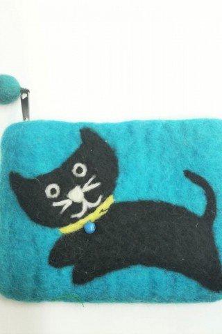 Portofel din fetru cu pisica neagra Miaunica