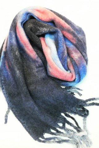 Esarfa pufoasa din lana cu imprimeu tie-dye multicolor