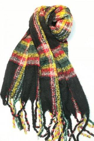 Esarfa pufoasa din lana cu imprimeu multicolor