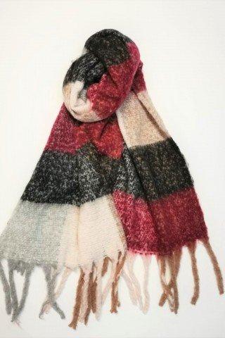 Esarfa pufoasa din lana cu patrate si imprimeu multicolor