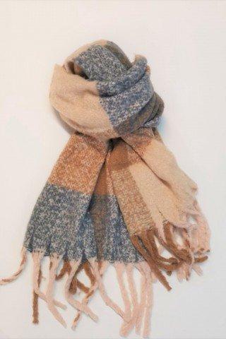 Esarfa pufoasa din lana cu patrate si imprimeu beige