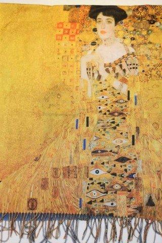 Esarfa din casmir cu imprimeu dupa portretul Adelei de Gustav Klimt
