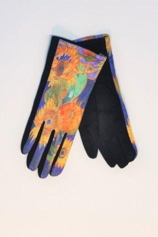 Manusi touch screen cu imprimeu floral multicolor