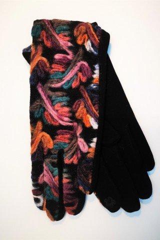 Manusi elegante negre si broderie multicolora