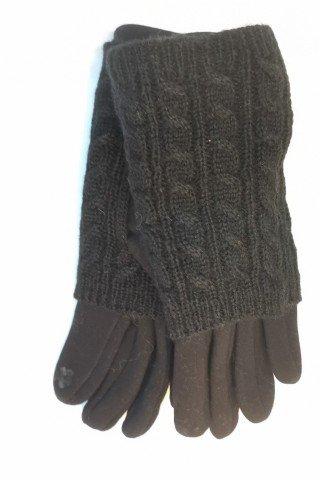 Manusi negre touch screen cu protectie tricotaj