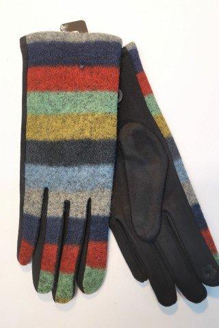 Manusi elegante negre cu lana in dungi multicolore si broderie index