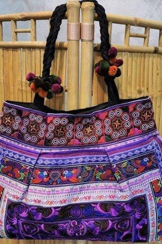 Geanta mov cu broderie Hmong multicolora