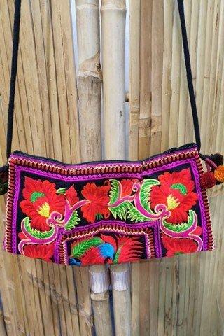 Geanta rosie cu broderie Hmong multicolora
