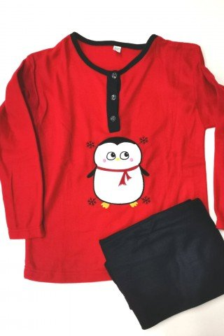 Pijama rosie din polar pinguin vesel
