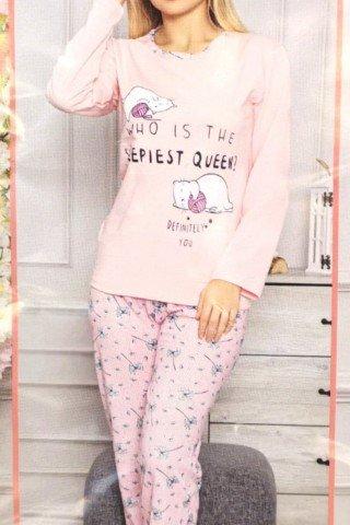 Pijama peach din bumbac cu imprimeu pisici somnoroase