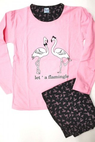 Pijama roz cu flamingo Let's flamingle