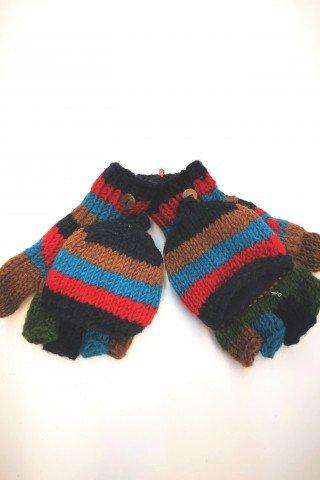 Manusi unisex cu degete si capac multicolore din lana cu dublura polar  Tricotate manual