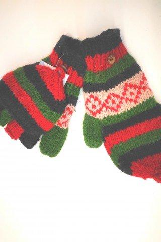 Manusi unisex cu degete si capac multicolore din lana cu dublura polar
