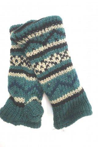 Manusi unisex fara degete multicolore din lana cu dublura polar