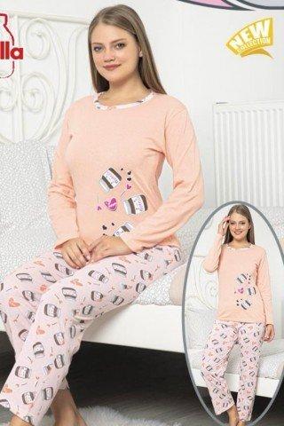 Pijama roz din bumbac cu inimioare