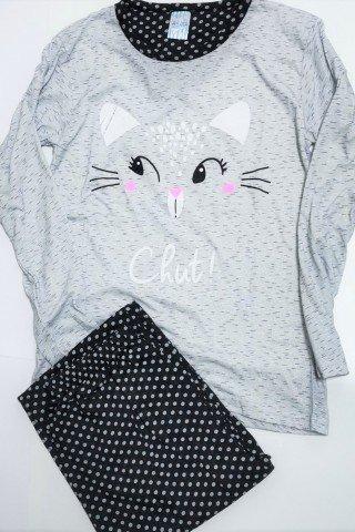 Pijama gri din bumbac si imprimeu pisica