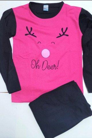 Pijama Craciun flausata fucsia Oh Deer