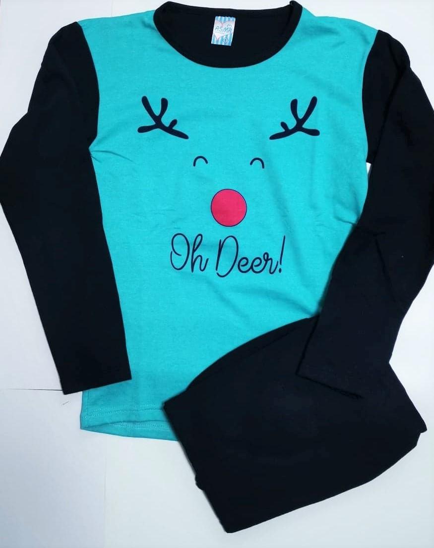 Pijama flausata Craciun albastra Oh Deer