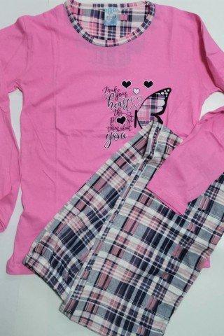 Pijama bumbac roz cu imprimeu fluturi si pantaloni carouri