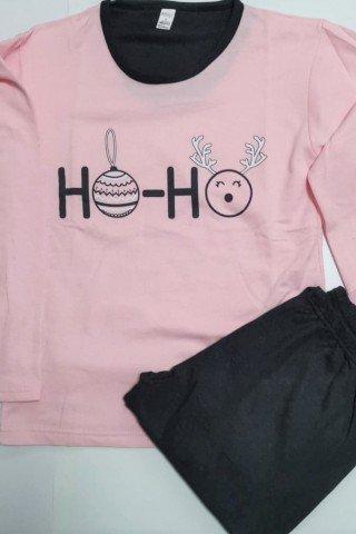 Pijama Craciun roz Ho Ho