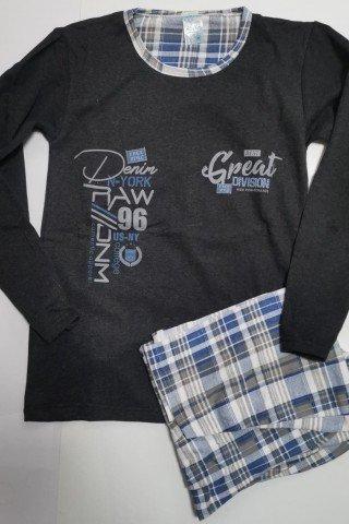 Pijama de bumbac gri cu pantaloni in carouri