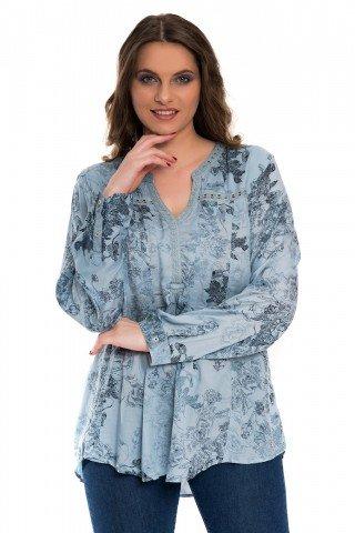 Bluza bleu ciel cu broderie si imprimeu floral