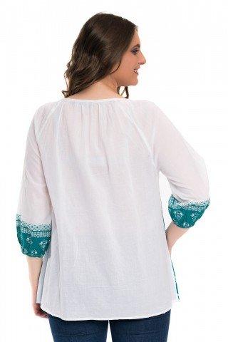 Bluza alba tip ie cu imprimeu verde