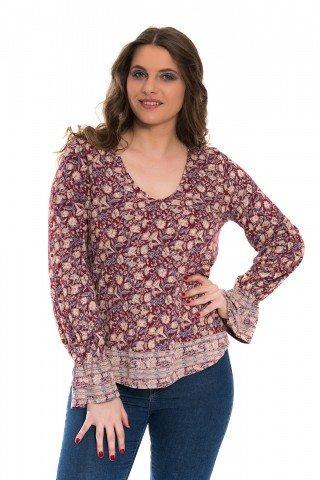 Bluza visinie cu imprimeu floral si elastic la maneci