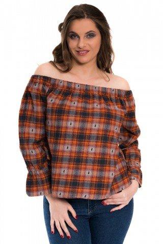 Bluza caramizie in carouri cu elastic pe umeri